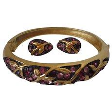 Joan Rivers Gold Tone Purple Pink Rhinestone Bangle Earring Set Vintage