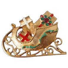 MYLU Christmas Sleigh of Presents Brooch Vintage
