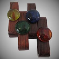 Set of Teak Wood Napkin Holders Made in Denmark Vintage