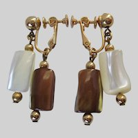 Napier Mother of Pearl Two Color Dangle Earrings Vintage