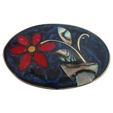 Mexico Alpaca Enamel Abalone Shell Oval Brooch Vintage