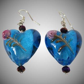Blue Foiled Glass Heart Earrings Vintage