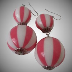 Cotton Candy Pink and White Striped Lucite Ball Dangle Earrings Vintage