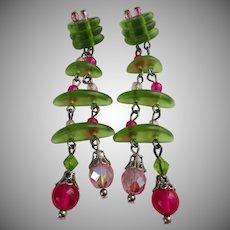 Spring Green Pink Beads Long Dangle Earrings Vintage
