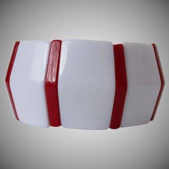 White Red Stripe Elasticized Plastic Bangle Vintage