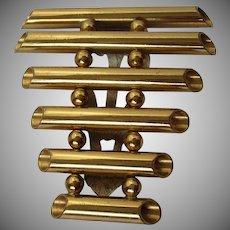 Unusual Brass Ladder Style Tube Dress Clip Vintage