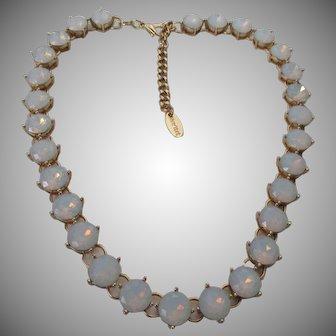 Faux Opal Single Strand Glass Necklace Cara New York Vintage