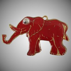 Red Googly Eyed Elephant Cloisonne Style Brooch/Pendant Vintage