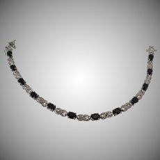 Sterling Silver Black Glass Stone Tennis Bracelet Vintage