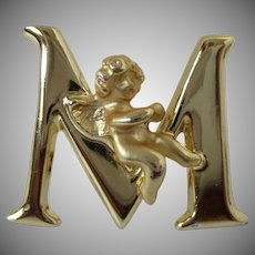 Capital Letter M with Angel Brooch Vintage