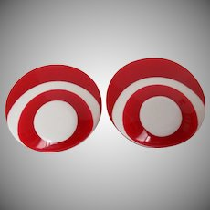 Bright Red White Circular Lucite Clip Back Earrings Vintage