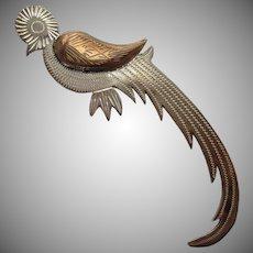 Sterling Silver Quetzal Bird Brooch Vintage