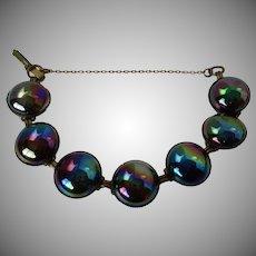 Jan Michaels SF Iridescent Glass Round Cabs Bracelet Vintage