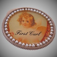 First Curl Container Trinket Box Girl Angel Vintage