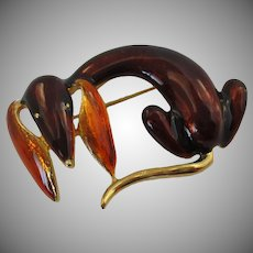 Brown Rust Enameled Hound Dog Brooch Vintage