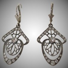 Art Deco Style Sterling Silver Paste Web Feature Earrings Vintage