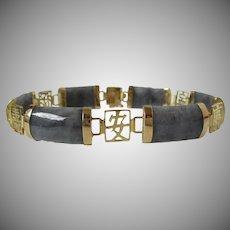 14KT Gold Hong Kong Gray Jade Panel Bracelet Vintage