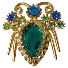 Jewelled Bug Insect Brooch Vintage