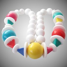 White and Bright Colored Balls Discs Single Strand Necklace Vintage