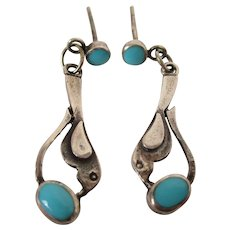 Sterling Silver Turquoise Stone Small Dangle Earrings Vintage
