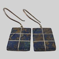 Chrysocolla Tiled 950 Silver Earrings Vintage