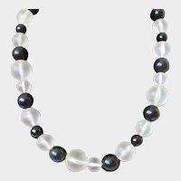 Clear Black Lucite Balls Single Strand Necklace Vintage