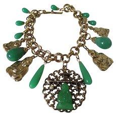 Asian Theme Faux Jade Charm Bracelet Vintage