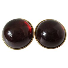 Large Round High Domed Deep Cherry Red Earrings Vintage