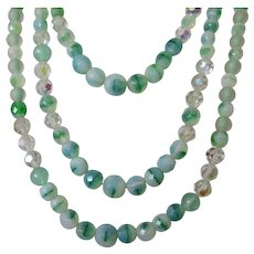 Three Strand Seafoam Green Glass Beaded Necklace Vintage