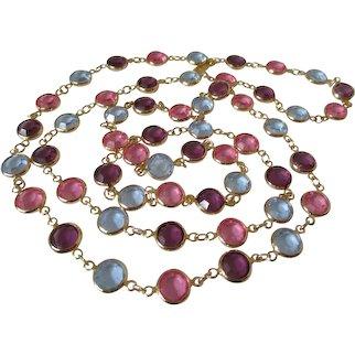 Swarovski Bezel Set Pink Purple Pale Blue Crystal Necklace Vintage