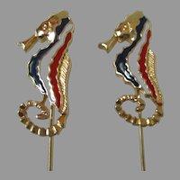Pair Red White Blue Seahorse Stick Pins Vintage