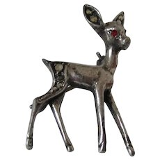 Bambi Sterling Silver Marcasite Marked Brooch Vintage