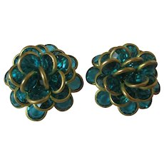 Aqua Color Rhinestone Brass Ruffled Petals Clip Back Earrings Vintage