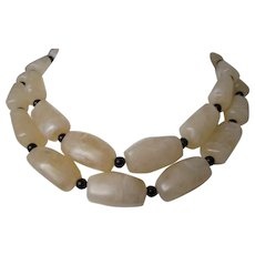 Chunky Vanilla Swirl Lucite Bead Two Strand Necklace Vintage