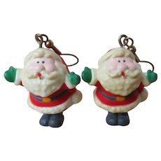 Cutest Santa Claus Plastic Pierced Earrings vintage