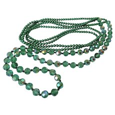 Long Strand AB Green Beads Double Strand Green Beads Necklace Vintage