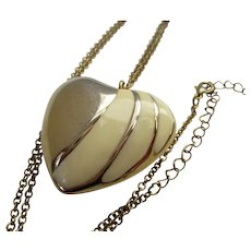 Large Puffy Heart Gold Tone Cream Necklace Vintage