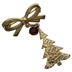 Gold Tone Bow w Small Christmas Tree Rhinestone Brooch Vintage