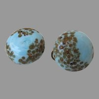 Robin's Egg Blue Copper Fluss Art Glass Button Style Clip Back Earrings Vintage