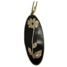 Enamel Flower Pendant Necklace Gervais Canada Vintage