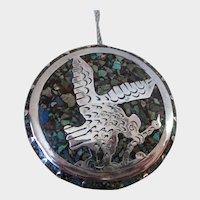 Sterling Silver Crushed Stone Eagle Large Round Brooch Pendant Vintage