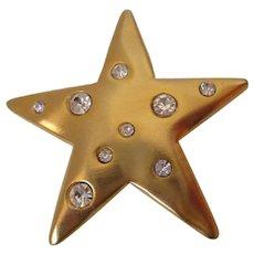 K J L Star Gold Tone Rhinestones Brooch Vintage