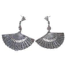 Art Deco Style Silver Marcasite Fan Pierced Earrings Vintage