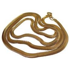 Anne Klein Long Liquid Slinky Gold Tone Necklace Vintage
