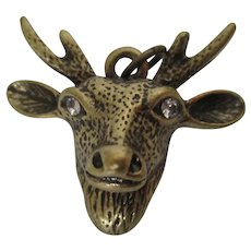 Brass Deer Head Rhinestone Eyes Charm Pendant Vintage