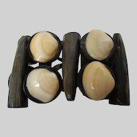 Horn Shell Wood Large Expandable Bracelet Vintage