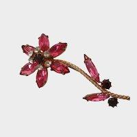 Pretty Pink Ruby Red Clear Rhinestone Flower Brooch Vintage