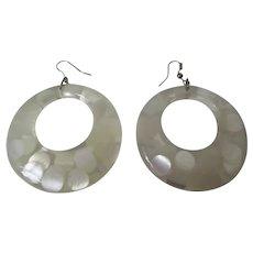 Clear Lucite Random Dots Large Hoop Earrings Vintage