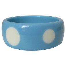 Powder Blue White Dots Lucite Bangle Vintage