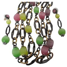 Spring Colored Beads Necklace Earring Set Vintage